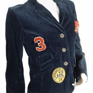 AE Dark Blue Corduroy Patch Jacket Size Medium